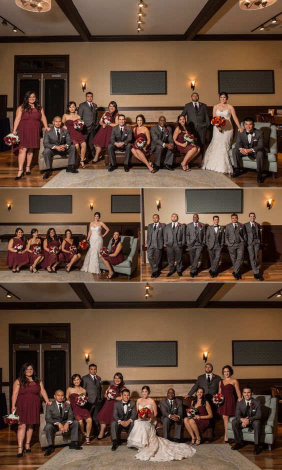 Noah's Event Venue Weddings - Beautiful bridal party group photo maroon bridesmaids dresses and gray groomsmen suits: