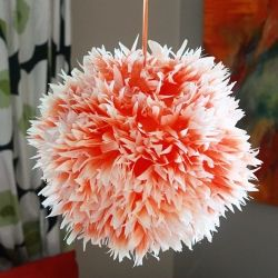 Giant chrysanthemum lanterns made from coffee filters.