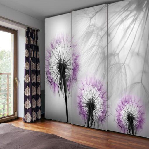 Tapeta Z Motywem Trzech Fioletowych Dmuchawcow Printed Shower Curtain Shower Curtain Prints