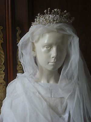 ANTIQUE XIXs FRENCH TULLE WEDDING BRIDAL VEIL WAX FLOWER CROWN