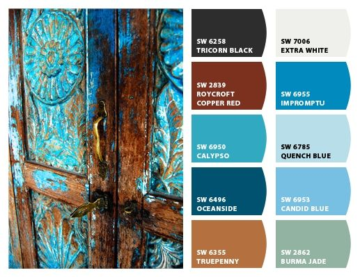 Rust Color Palettes And Blue On Pinterest
