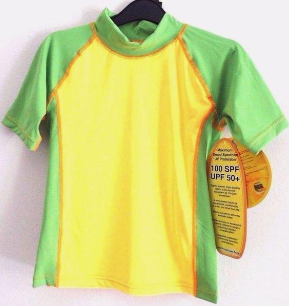 NEW SunSkinz Rash Guard Sz 8 Short Sleeve Swim Top Green Yellow UV Protection…