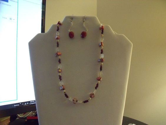 Mixed Natural Chip Beaded Necklace & Earrings Red Jasper, Agate Handmade .925  | eBay