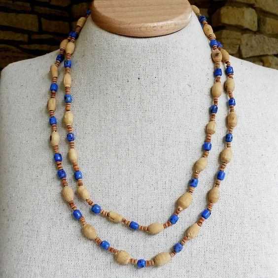 "Vintage Cork Blue Glass Bead Tribal Necklace 48"" Boho Ethnic Single Strand 1980s #NotSigned #Tribal"