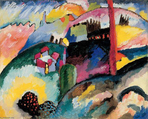 Paysage avec cheminée d usine, huile sur toile de Wassily Kandinsky (1866-1944, Russia)