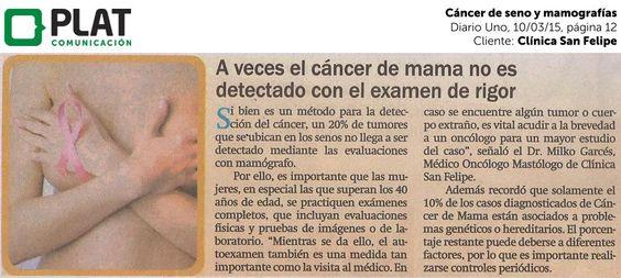 Clínica San Felipe: Prevención del cáncer de mama en el Diario Uno de Perú (10/03/15)