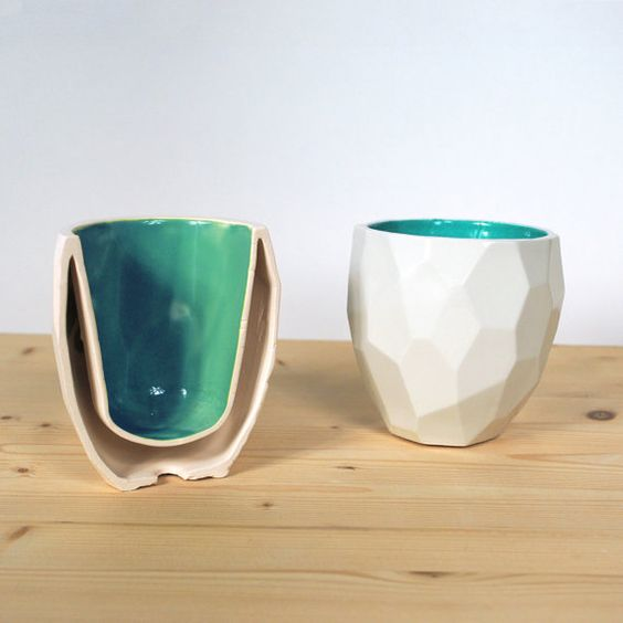 Modern quality facetted porcelain thermo tea cup - dual wall isolating cup hot in polygons - Poligon thermo Cup - Coffe mug - Emerald Green £19