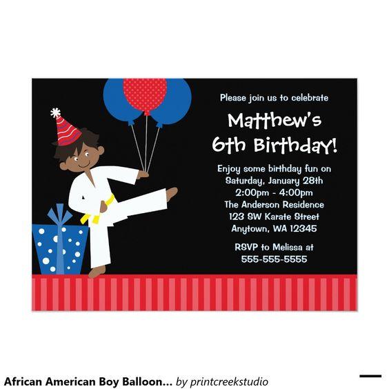 African American Boy Balloons Taekwondo Birthday 5x7 Paper Invitation Card