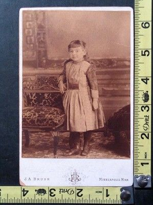 Antique Cabinet Photo of Cute Little Girl Standing