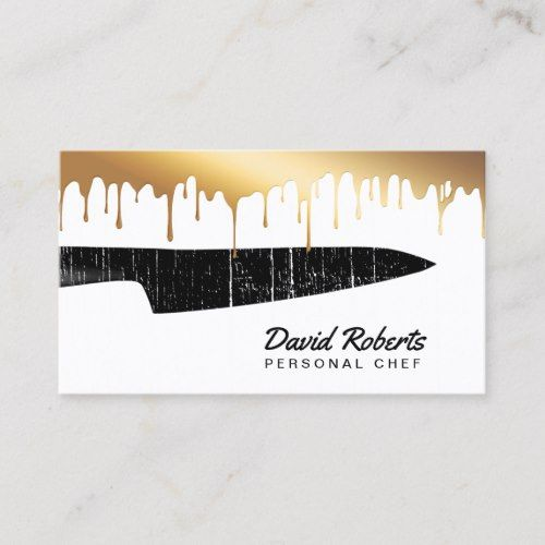 Personal Chef Catering Black Knife Chic Gold Drips Business Card Zazzle Com Catering Business Cards Bakery Business Cards Templates Bakery Business Cards