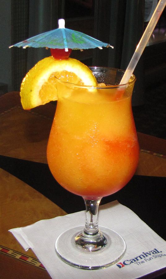 "So delicious on a hot day! Mango Mix and Peach Schnapps with Grenadine called ""Kiss on the Lips"""