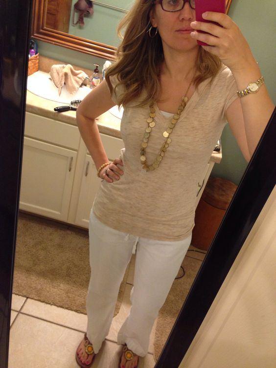 I can wear linen pants everyday! And my fav gold coin necklace.