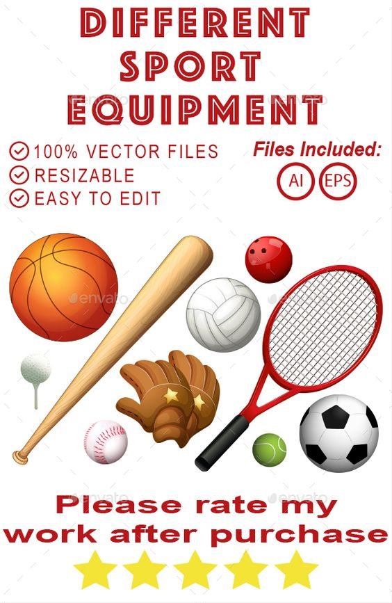 Different Sport Equipment Different Sports No Equipment Workout Sports Equipment