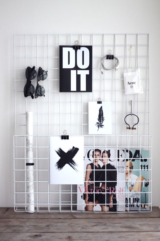 DIY pin/clip board for a wall or sitting on a desk - could be used as an inspiration board or for reminders: