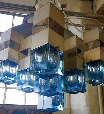 MID CENTURY SCIOLARI GEOMETRIC CHANDELIER BRUTALIST MURANO GLASS CUBES