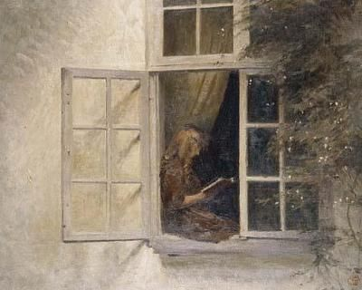 Peter Ilsted (1861-1933) - A Girl reading in the Window