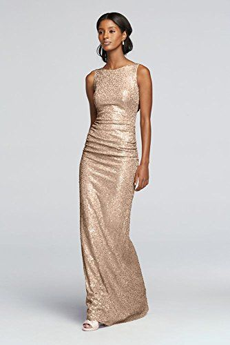 Long Sequin Tank Bridesmaid Dress with Cowl Back Style F19400 ...