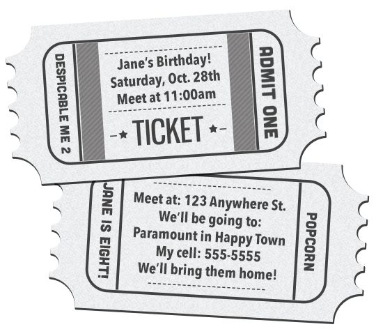41 Printable Birthday Party Cards \ Invitations for Kids to Make - free printable tickets template