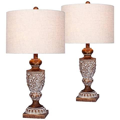 Mabel Antique Brown Urn Table Lamp Set Of 2 47r92 Lamps Plus Traditional Table Lamps Table Lamp Lamp Sets