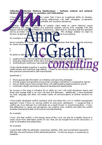 Management - Cultivates productive working relationships - professional resumes