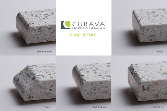 Five Available Edge Details From Curava Recycled Glass