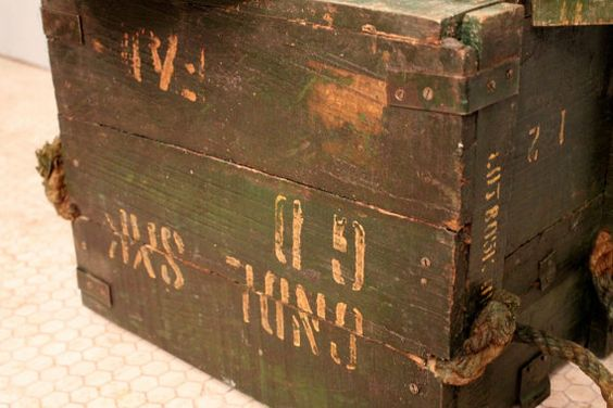 Vintage Green Distressed Army Crate Storage Trunk Side Table: