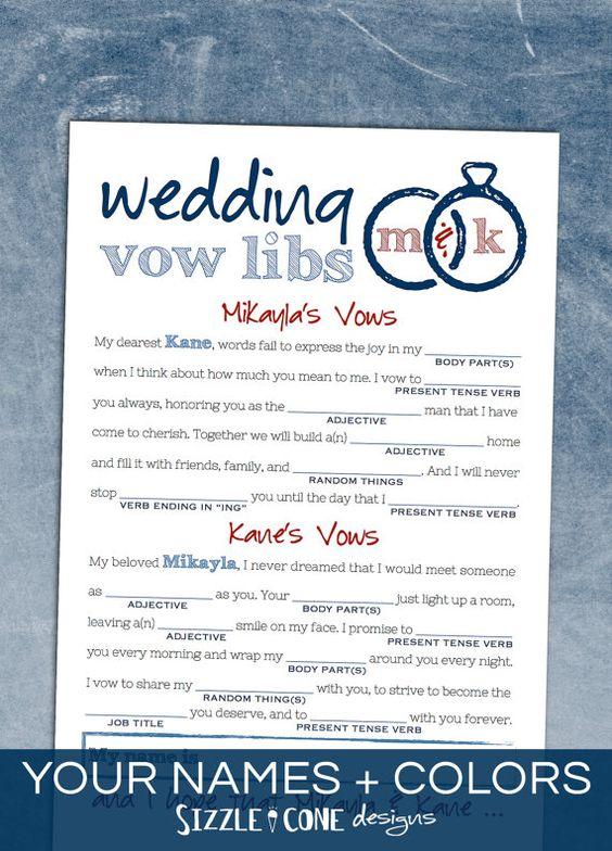 Wedding Vow Mad Libs Free Printable