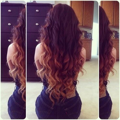 Tie and dye l ombr hair coiffures cheveux longs boucl s couleur de cheveux et boucles - Couleur ombre hair ...