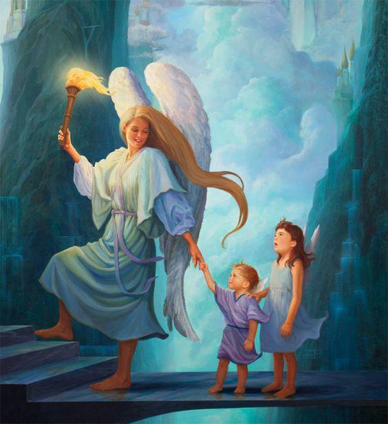 Angel And Children Arriving In Heaven Imagens De Anjos Cartoes