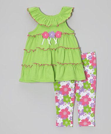 Green Floral Ruffle Yoke Tunic & Leggings - Toddler by Kids Headquarters #zulily #zulilyfinds