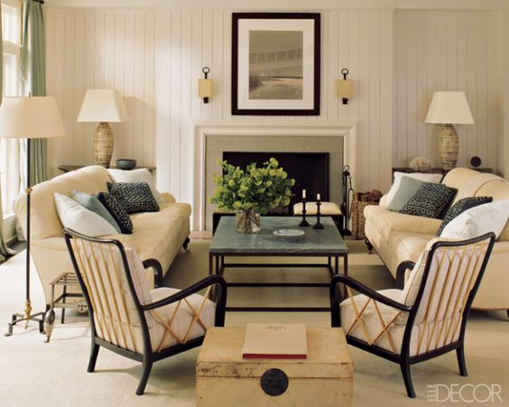 Transitional And Eclectic Living Room Furniture Arrangement With 2 Sofas In A Living Room