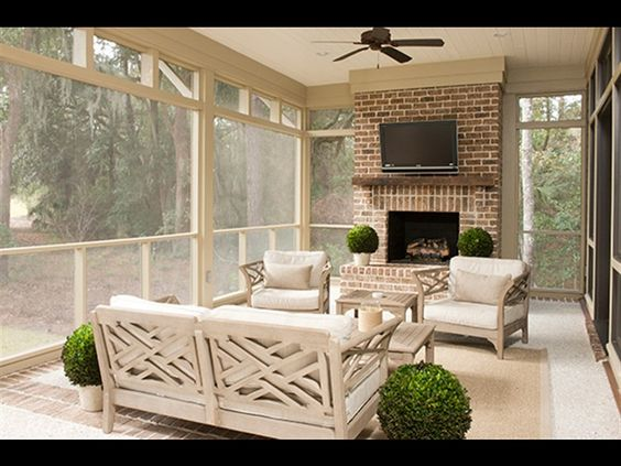 Fireplaces furniture and wood mantle on pinterest for Sunroom with fireplace