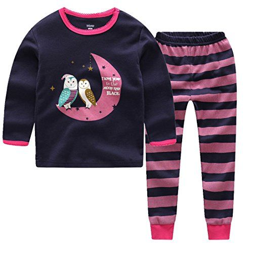 Girls Pajamas Cotton Long Sleeves Toddler Love in The Moon Pjs Sleepwear 2 Piece