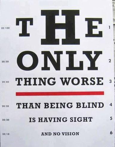 A única coisa pior do que ser cego é poder enxergar e não ter visão. #quote #quotes
