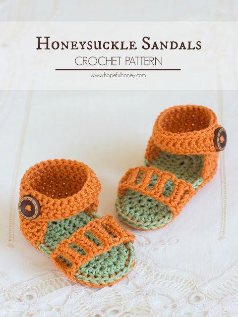 Honeysuckle bébé Sandales - Crochet Motif gratuit