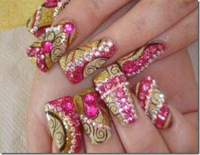 mexican nails. uñas con piedras rojas 2015