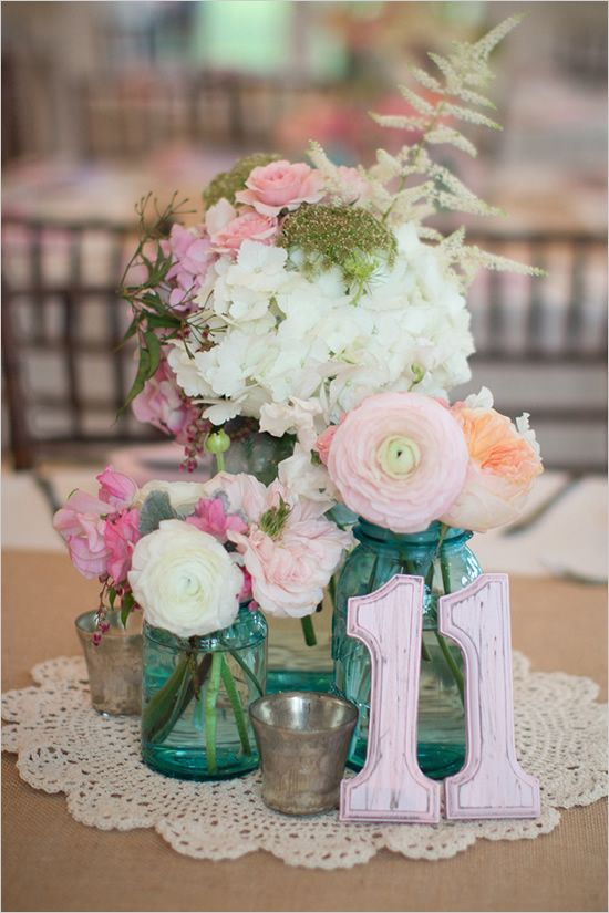 table decor, my only problem with this would be the table #s should be in a different color, blends in too much for guests: Centerpiece, Shabby Chic Wedding, Table Arrangement, Wood Table