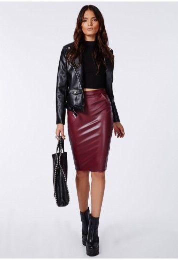 Midi Leather Pencil Skirt