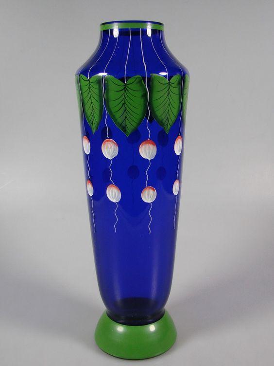 Emailbemalte Jugendstil Vase Kobaltglas UM 1900 | eBay