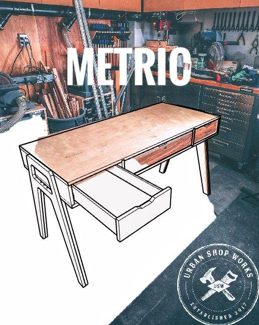 Mid Century Modern Plywood Desk Plans Metric Plywood Desk Woodworking Furniture Plans Urban Shop