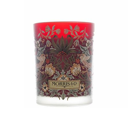 William Morris Strawberry Thief Scented Candle, Red