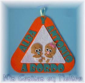triángulo, triángulo de coche, bebé a bordo, bebé, fieltro, triángulo de fieltro, baby on board