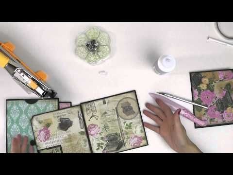 Making the Romance Novel Mini Album Part 2: Walk-Through/Tutorial of The Inside Pages - YouTube