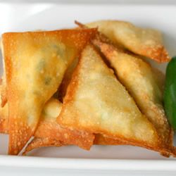"""""""If you like jalapeno poppers, you will love these fried wontons stuffed with (dairy-free) cheese and jalapeno!"""""""