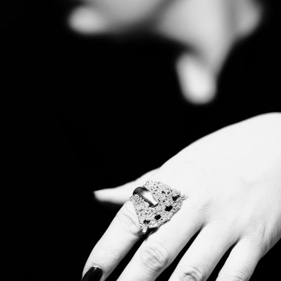 Sterling Silver Long Wide Statement lace ring by ChambreBlanche