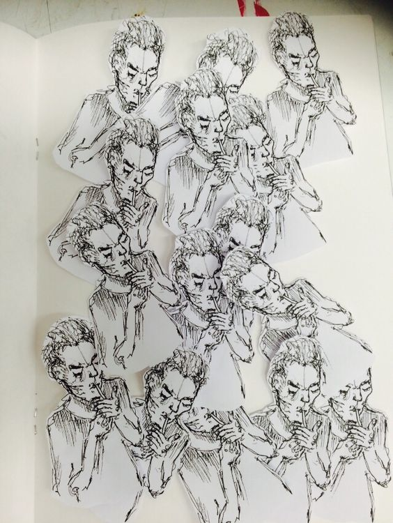 Smoking man collage, sketchbook work