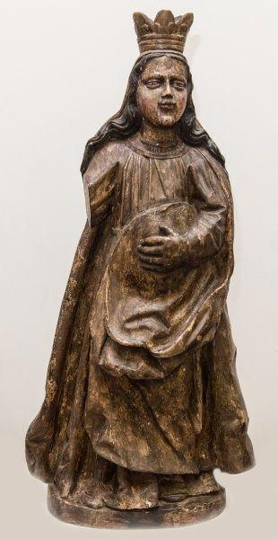 Rara imagem de Nossa Senhora do Ó (grávida), madeira policromada. Imaginária característica do século XVII. Falta um dos braços. Alt. 83cm. Base 12.000,00