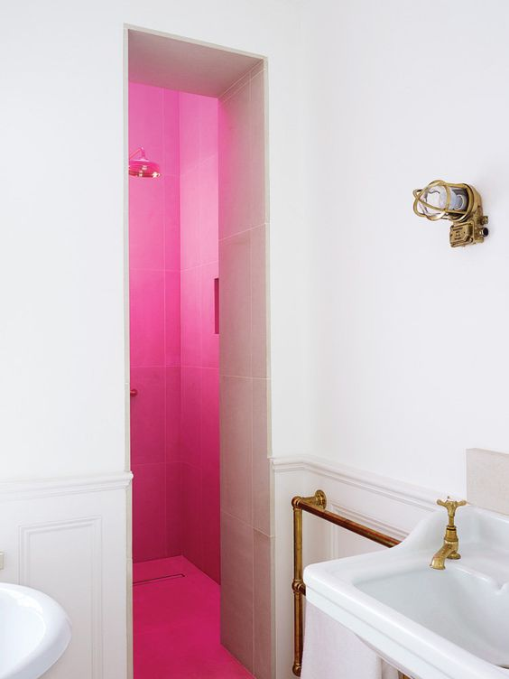 Master Bath with pink skylight - nytimes