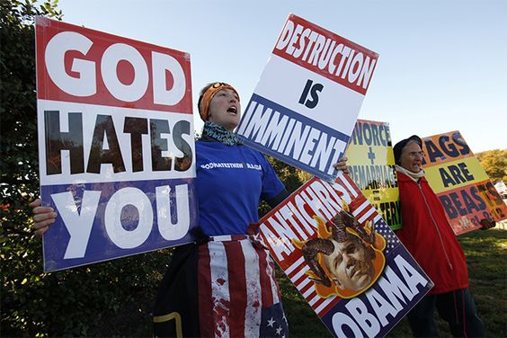 Westboro Baptist Church members protest at Arlington National Cemetery in Virginia