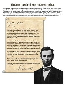 Abraham Lincoln Primary Source Letter Worksheet